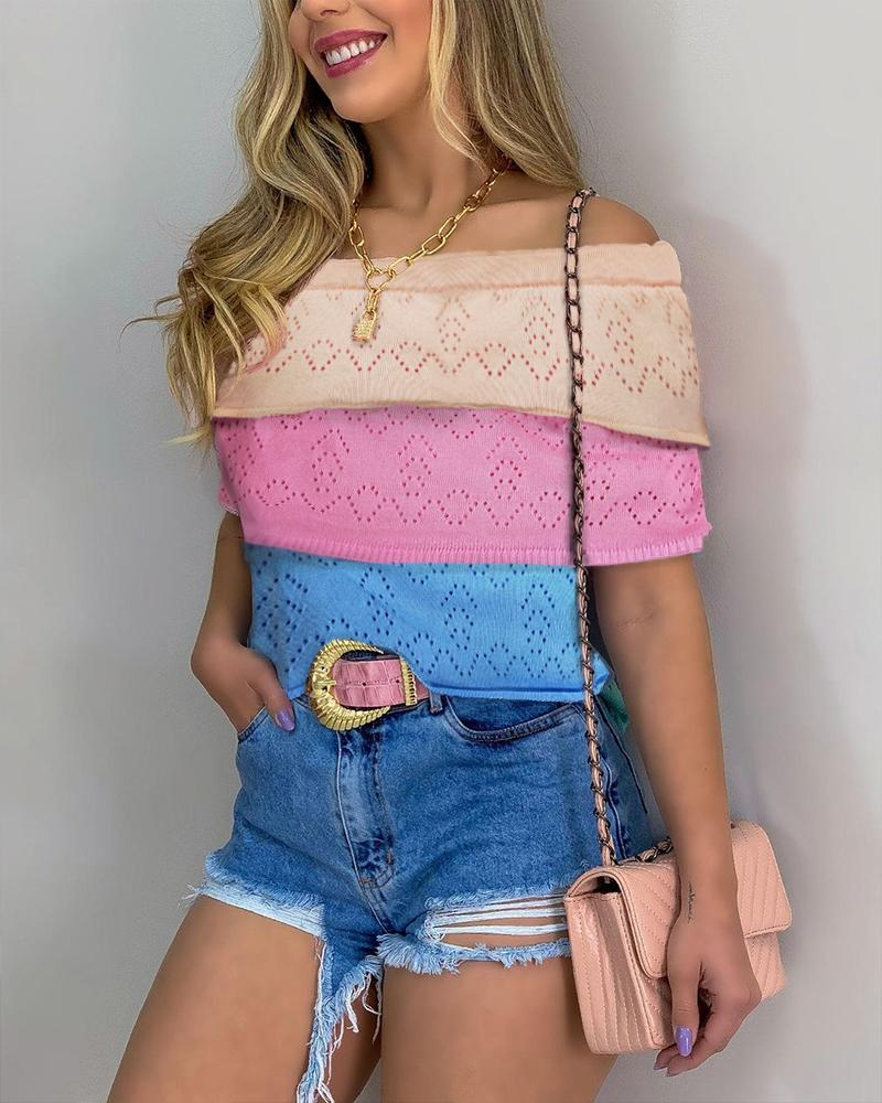 Colorblock Layered Off Shoulder Open Knit Top