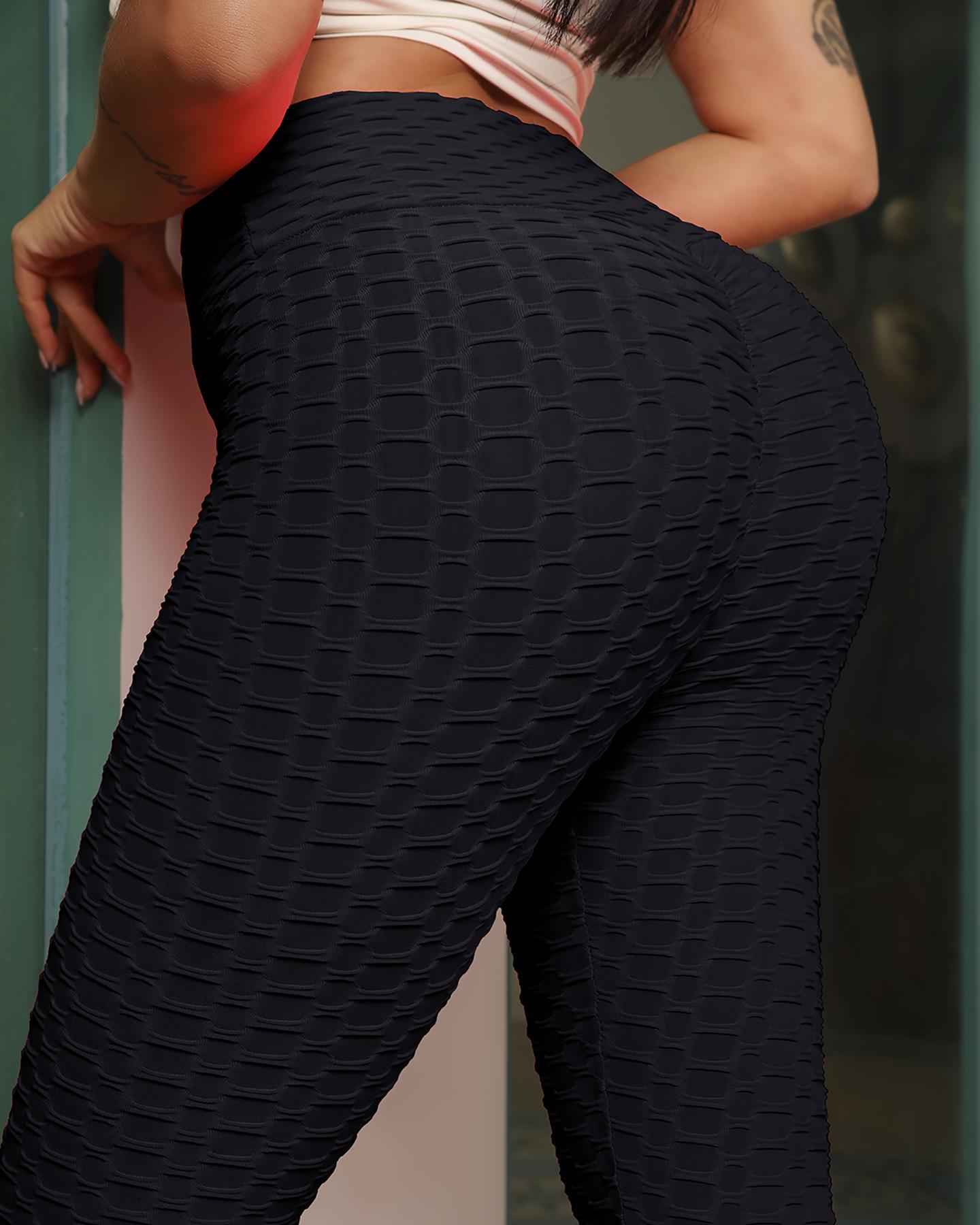 Bubble Textured High Waist Yoga Pants Tummy Control Slimming Booty Leggings thumbnail