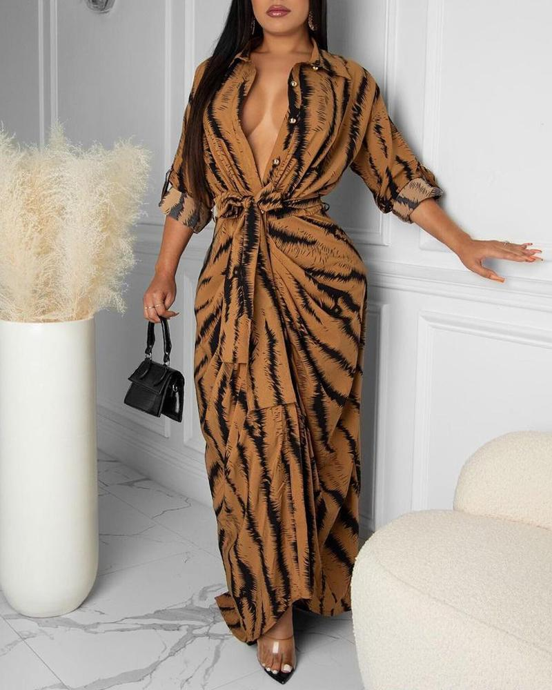 Tiger Print Roll Up Sleeve Button Front Belted Longline Shirt Dress Casual Turn-down Collar Maxi Shirt Dress, ivrose, brown  - buy with discount