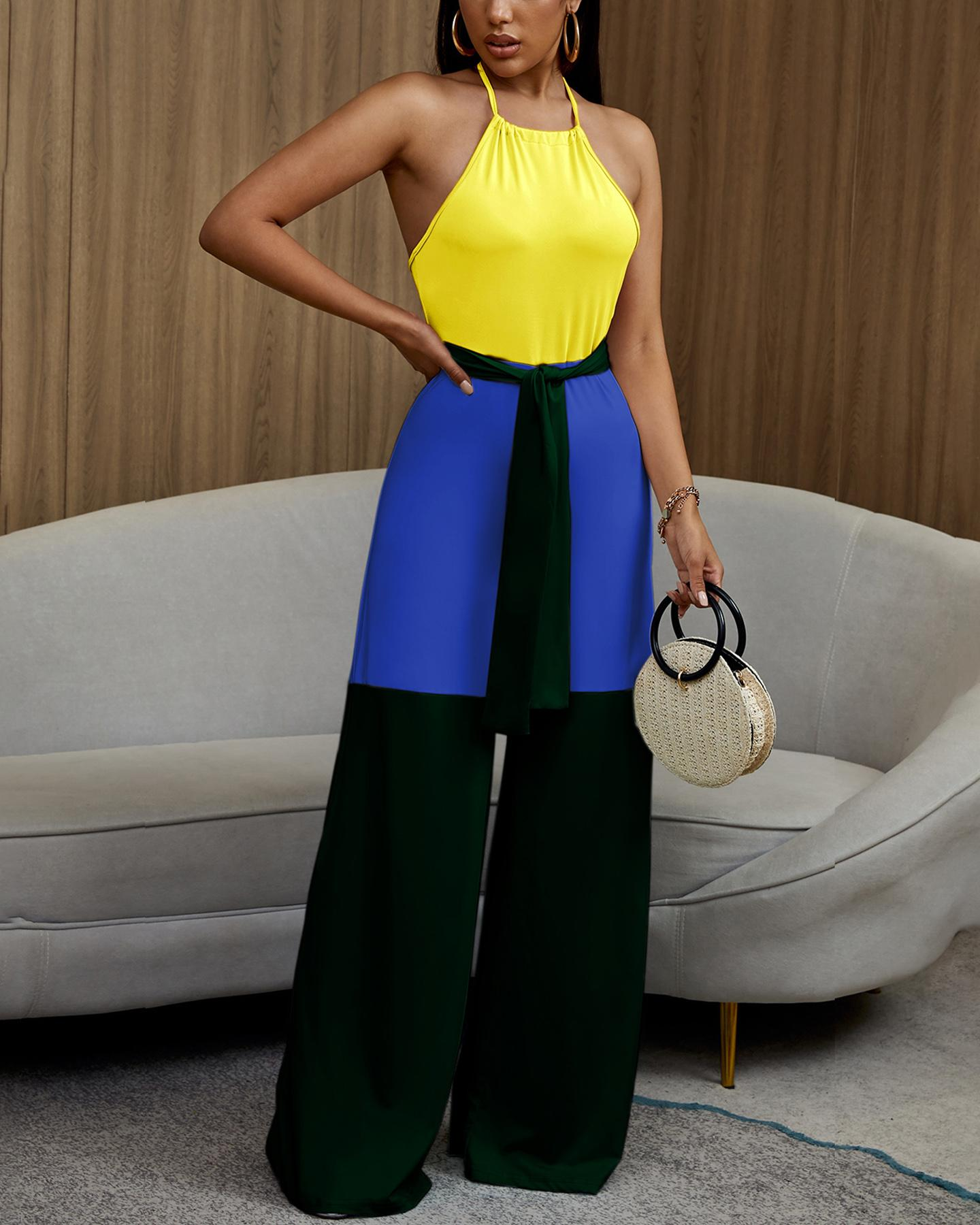 Halter Contrast Color Sleeveless Jumpsuits thumbnail