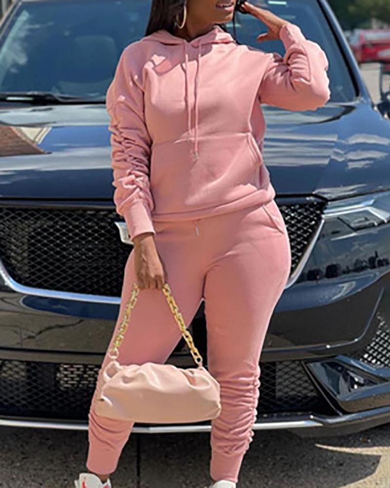 Ruched Pocket Design Hooded Sweatshirt & Fold Pants Set