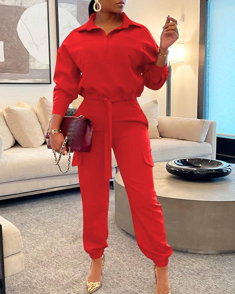Long Sleeve Drawstring Top & Pocket Design Pants Set