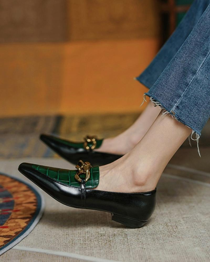 Chain Croc Embossed Square Toe Loafers