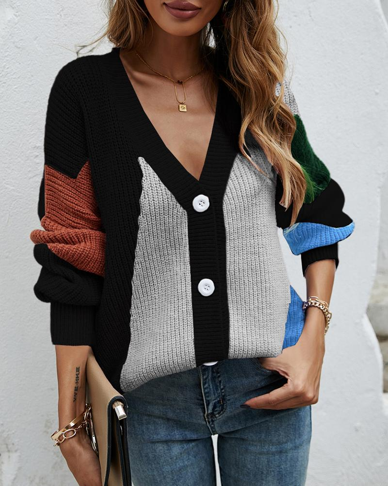 Knit Button Front Colorblock Lantern Sleeve Cardigan, Black