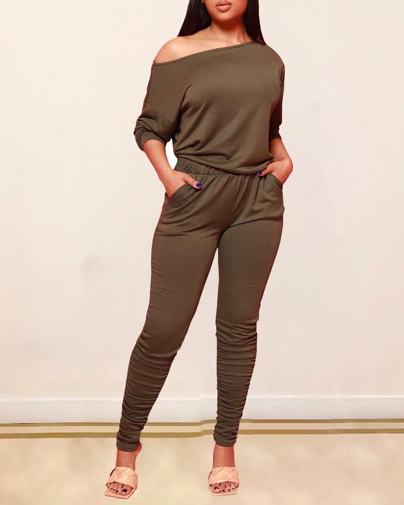 One Shoulder Top & High Waist Pocket Design Pants Set