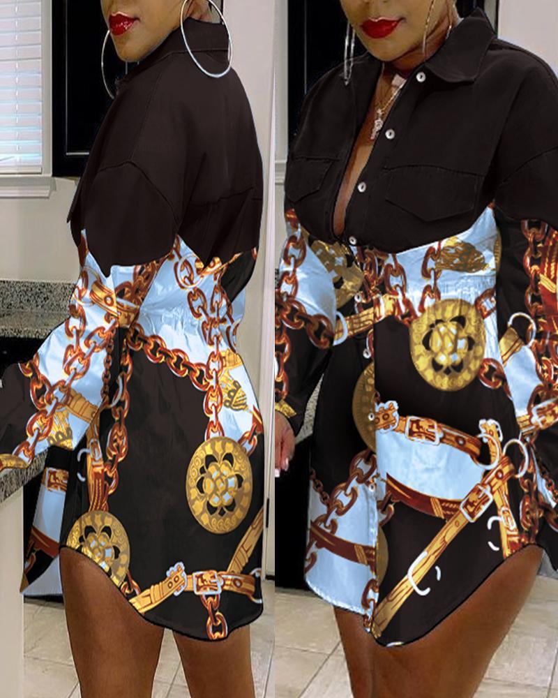 Chain Patchwork Button Front Shirt Dress