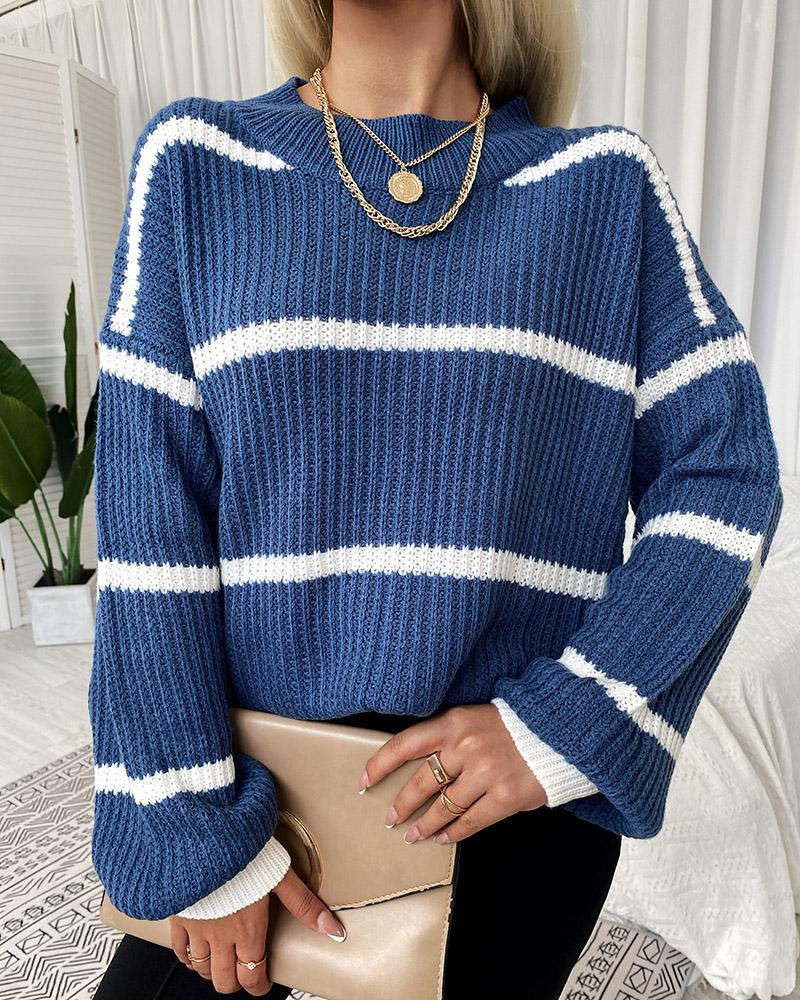 Striped Bishop Sleeve Chunky Knit Sweater
