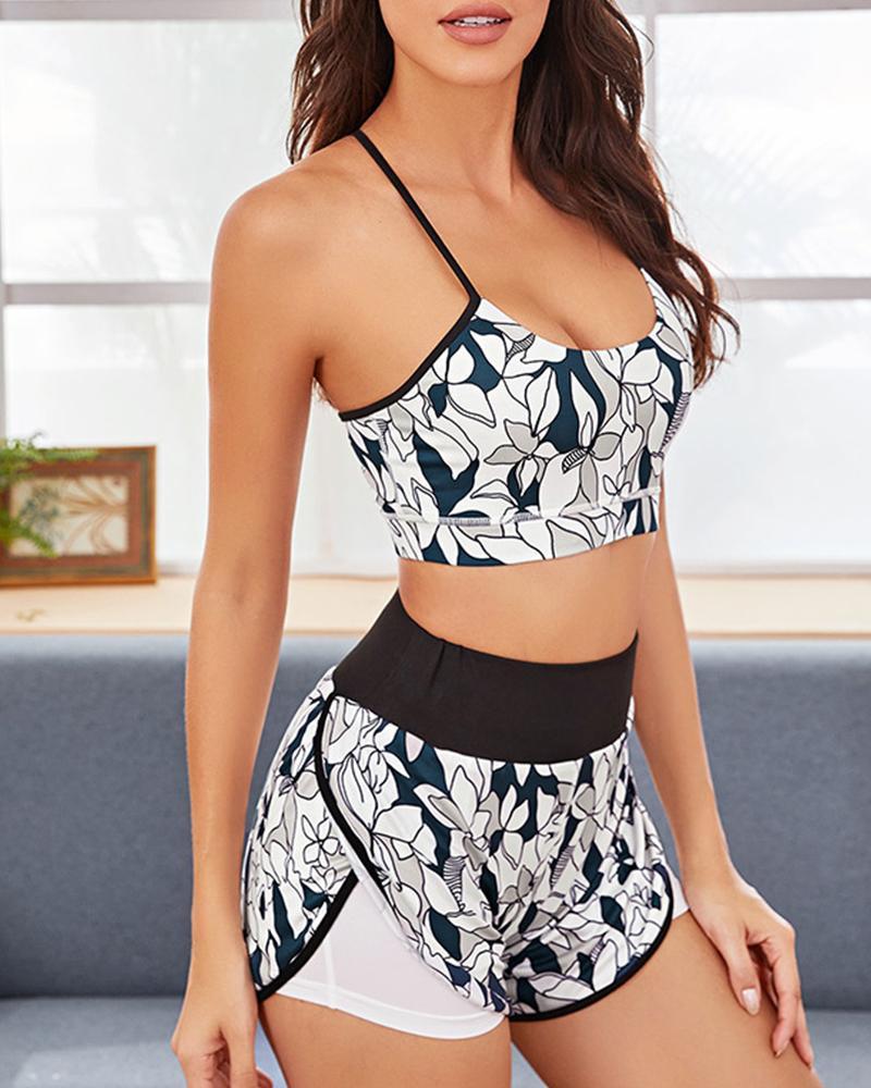 Floral Primt Patchwork Fitness Sports Underwear Sets