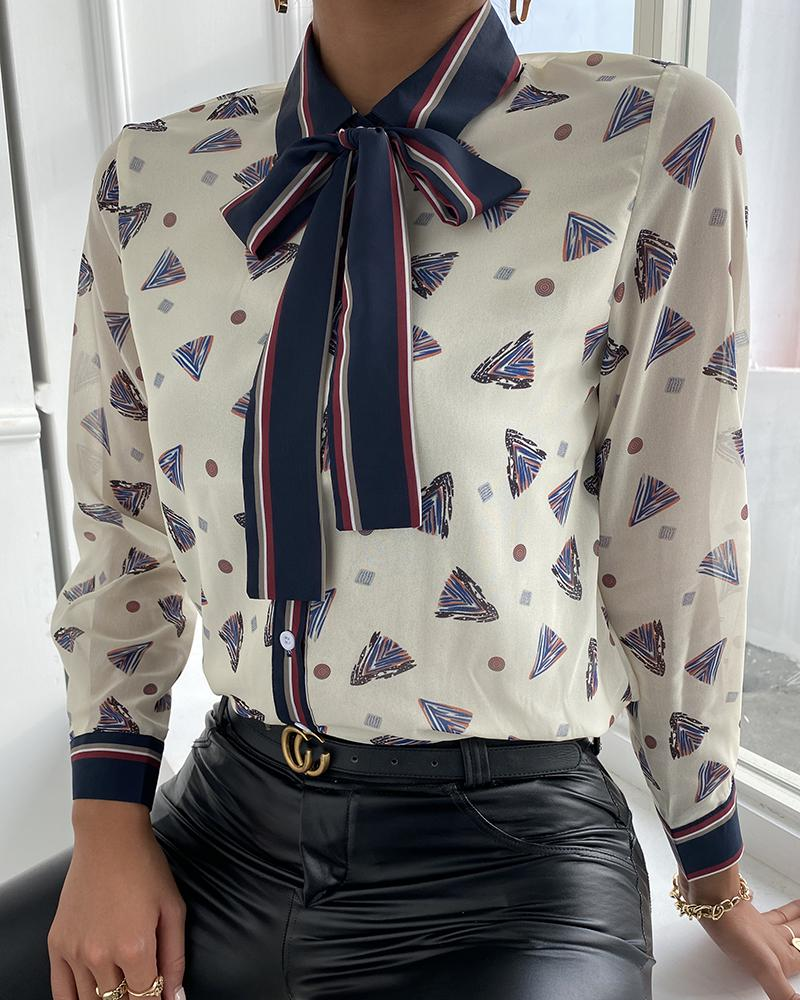 All Over Print Tie Neck Chiffon Shirt thumbnail