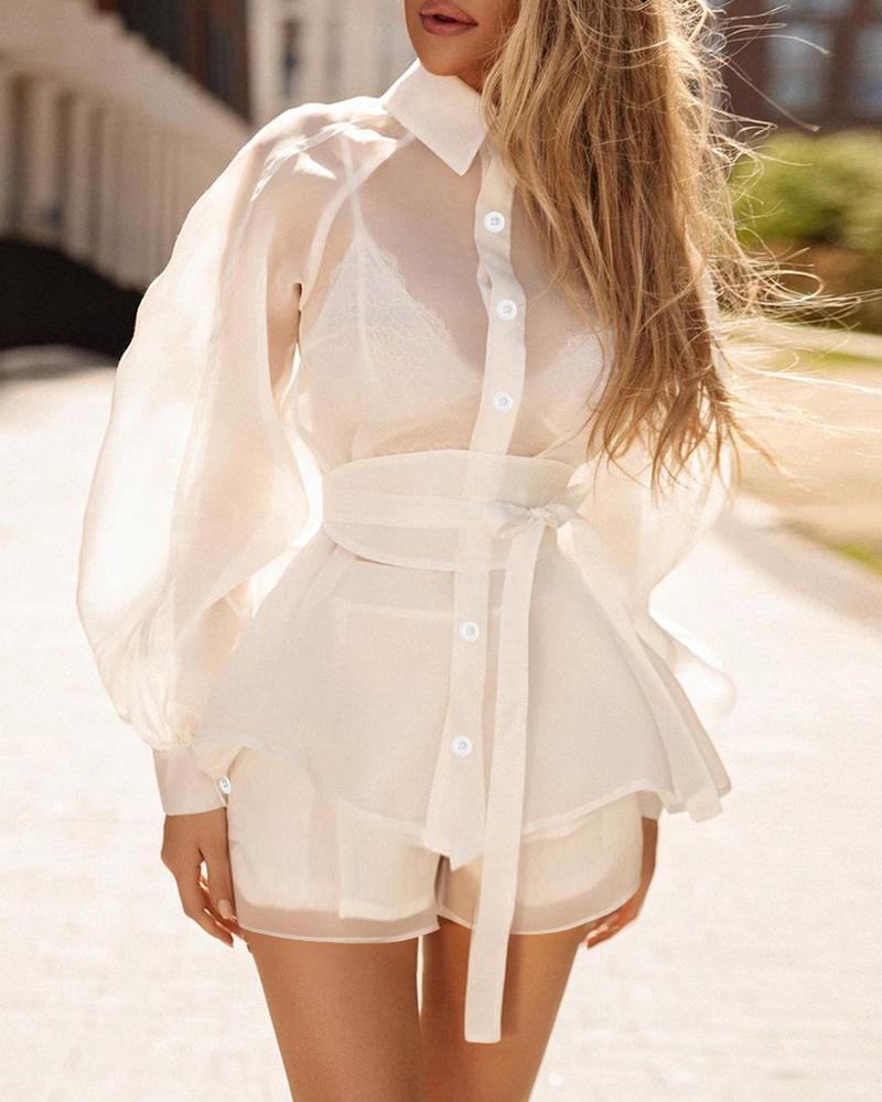 Mesh Lantern Sleeve Top & High Waist Shorts Set With Belt