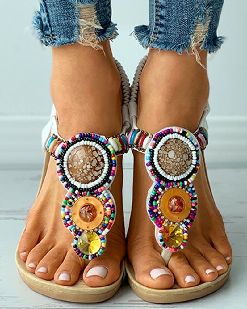 Rhinestone Colorful Beaded Slingback Flat Sandals