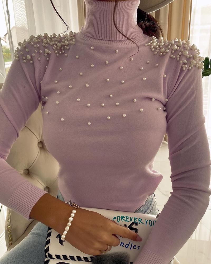 Beaded High Neck Long Sleeve Sweater