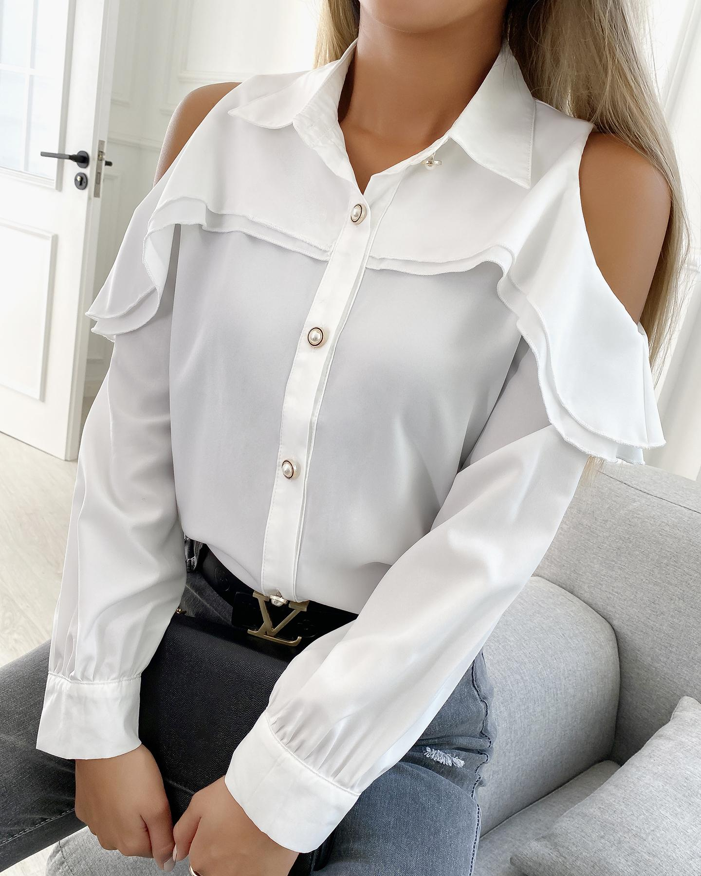 Cold Shoulder Buttoned Up Ruffle Hem Shirt
