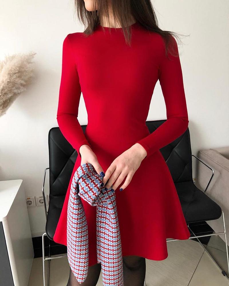 Long Sleeve Plain Casual Dress thumbnail