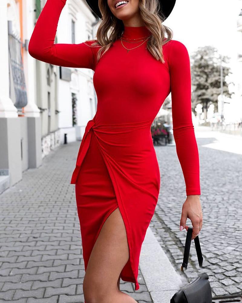 Tied Detail Slit Long Sleeve Skinny Dress