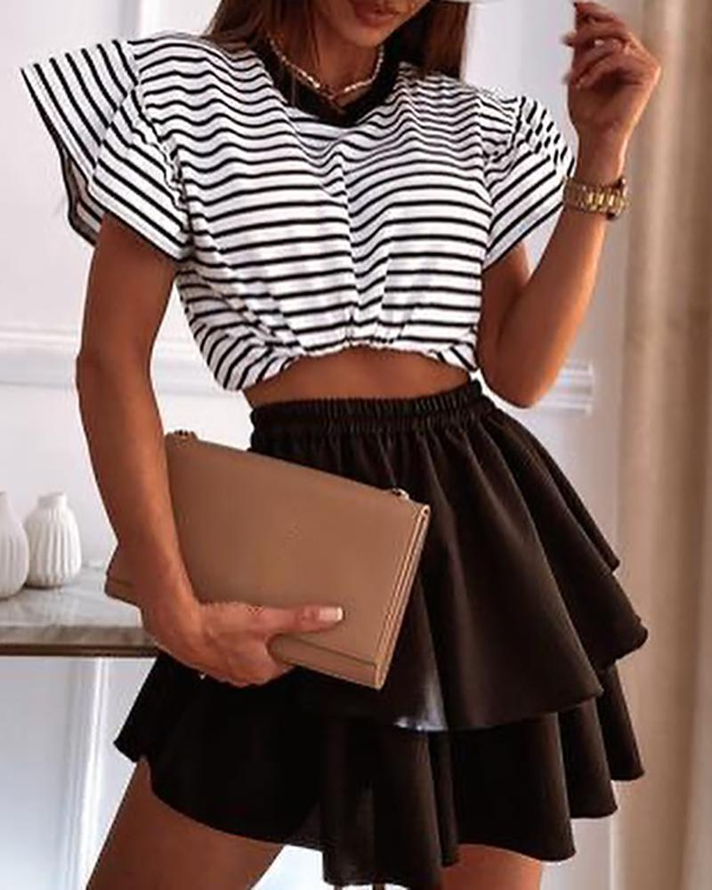 Striped Print Crop Top & Layered Skirt Sets