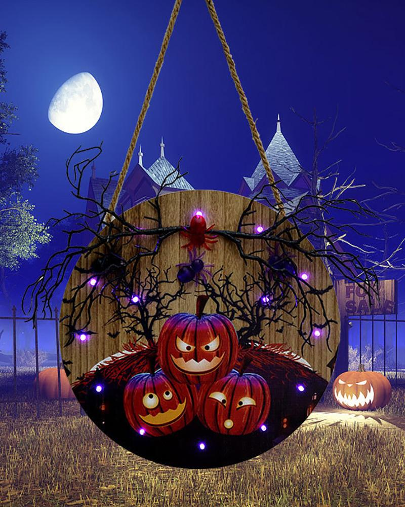 Halloween Theme Door Sign With Creative Wooden Lights Hanging Ornament For Home Garden Balcony Decor