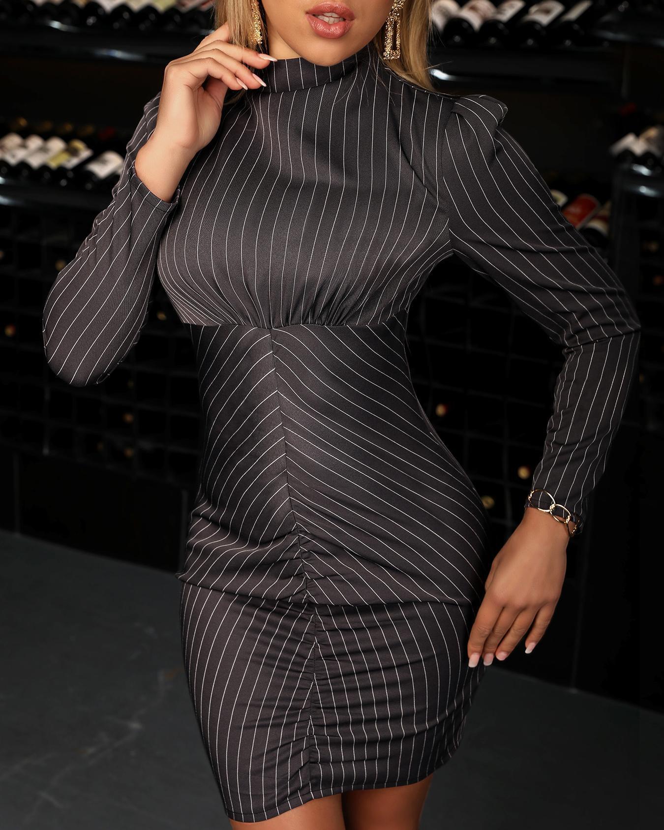 Long Sleeve Striped Bodycon Dress thumbnail
