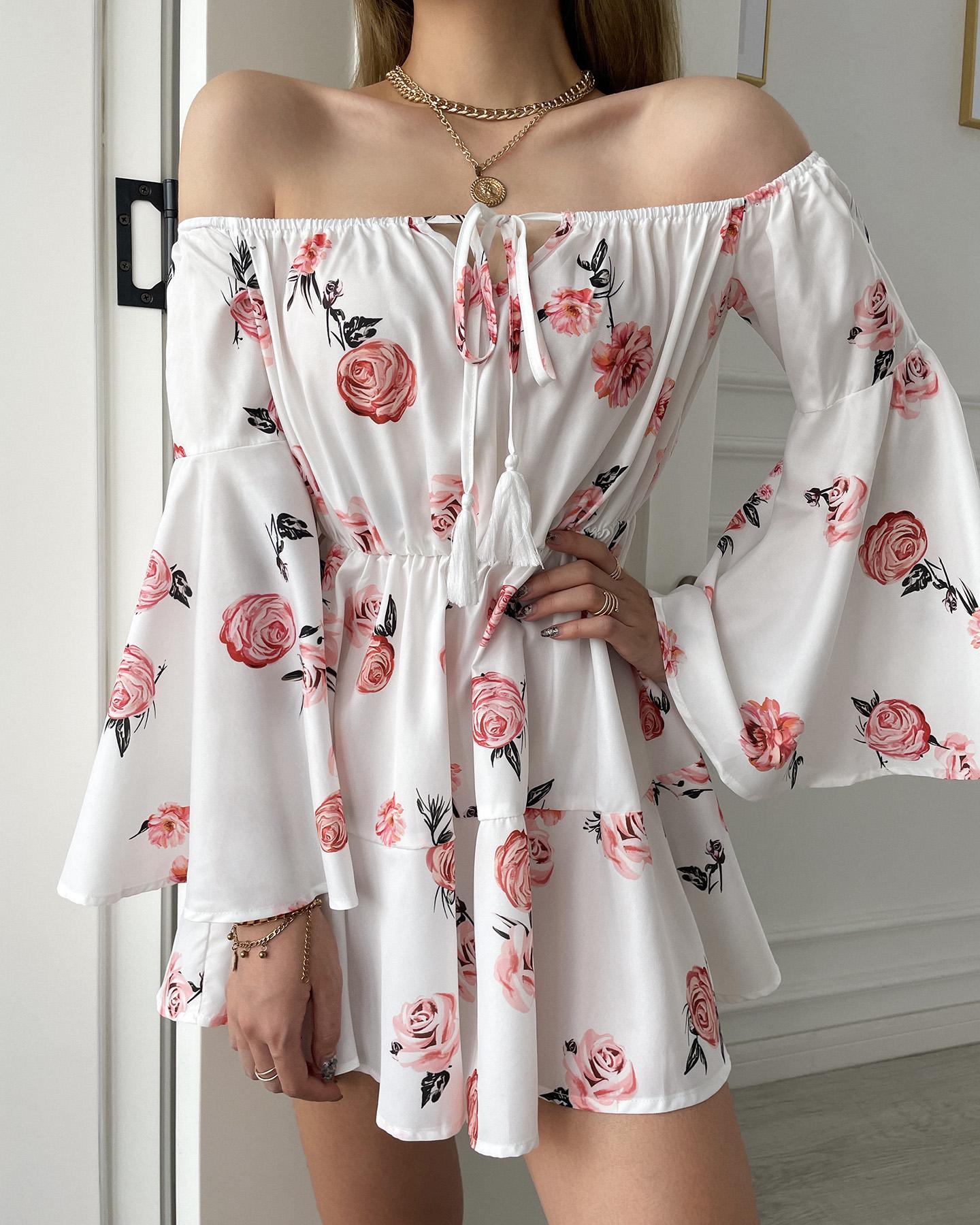 Off Shoulder Floral Print Bell Sleeve Dress