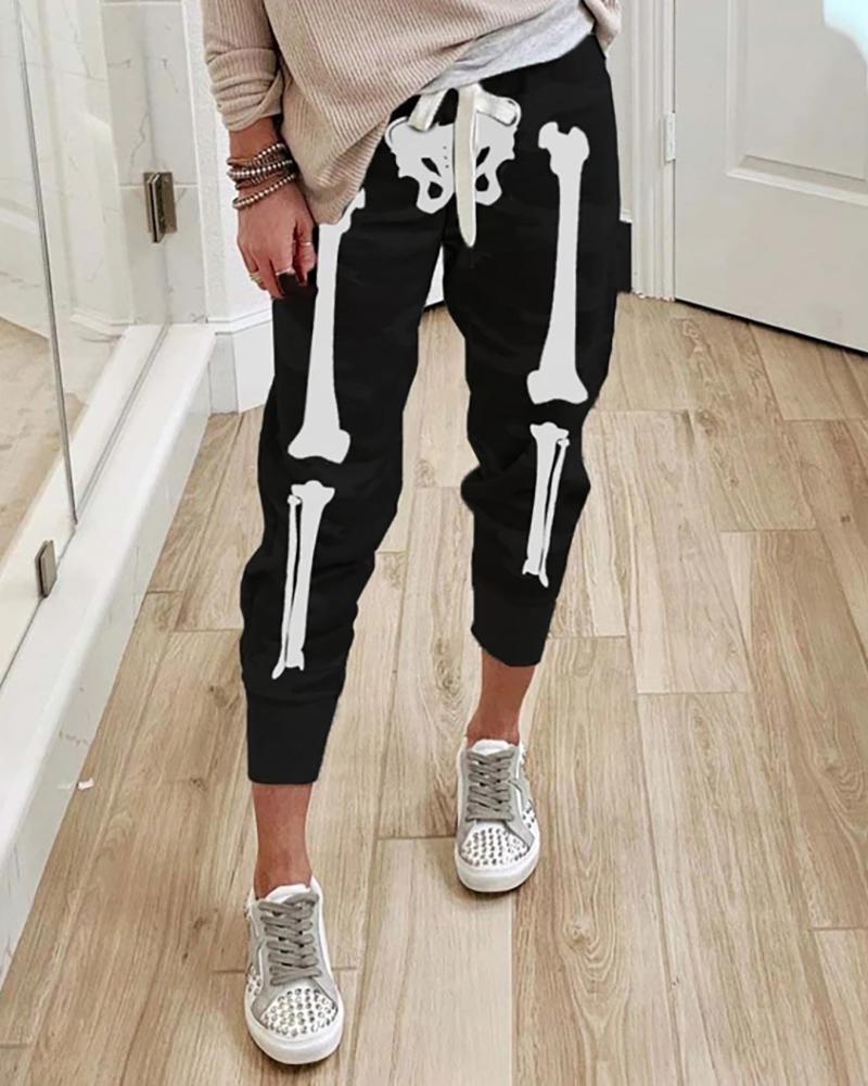 Halloween Skull Print Drawstring Sweatpants