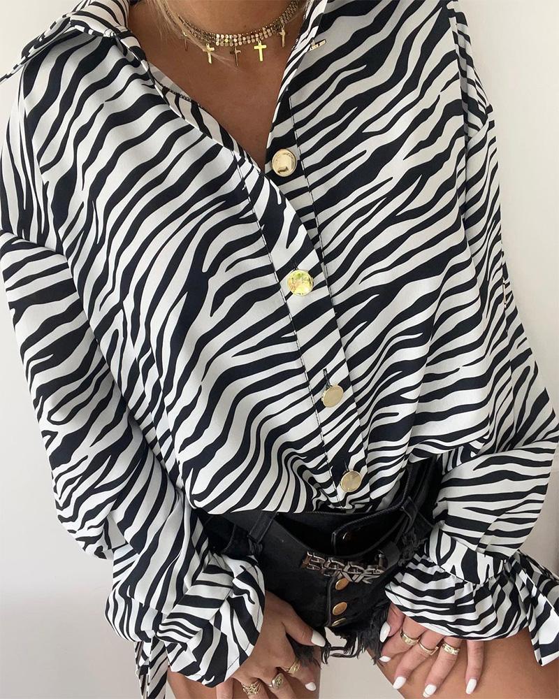 Zebra Stripe Print Button Up Knot Detail Top