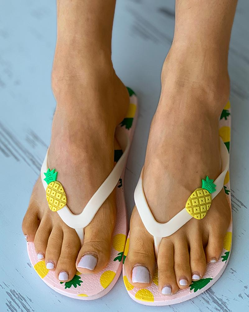 Pineapple Pattern Casual Slide Flip Flops, boutiquefeel, pink  - buy with discount