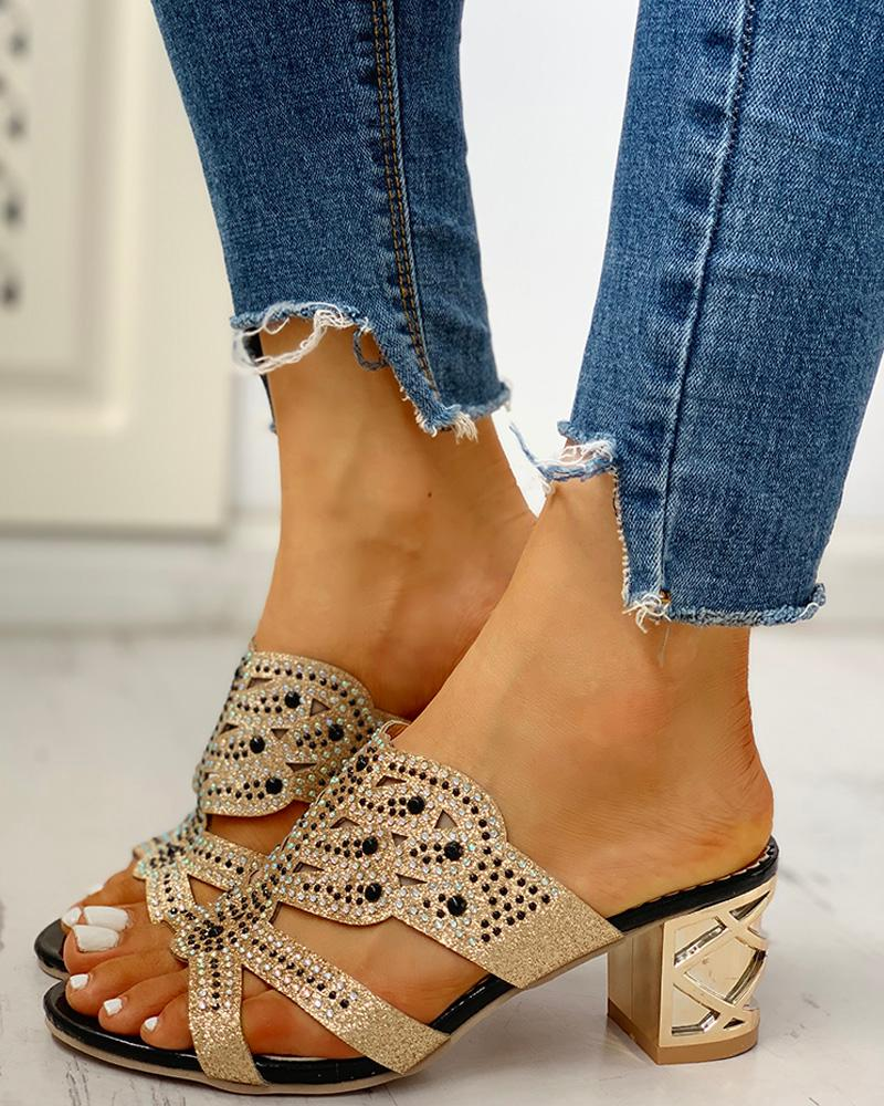 Studded Cut Out Design Chunky Heeled Sandals