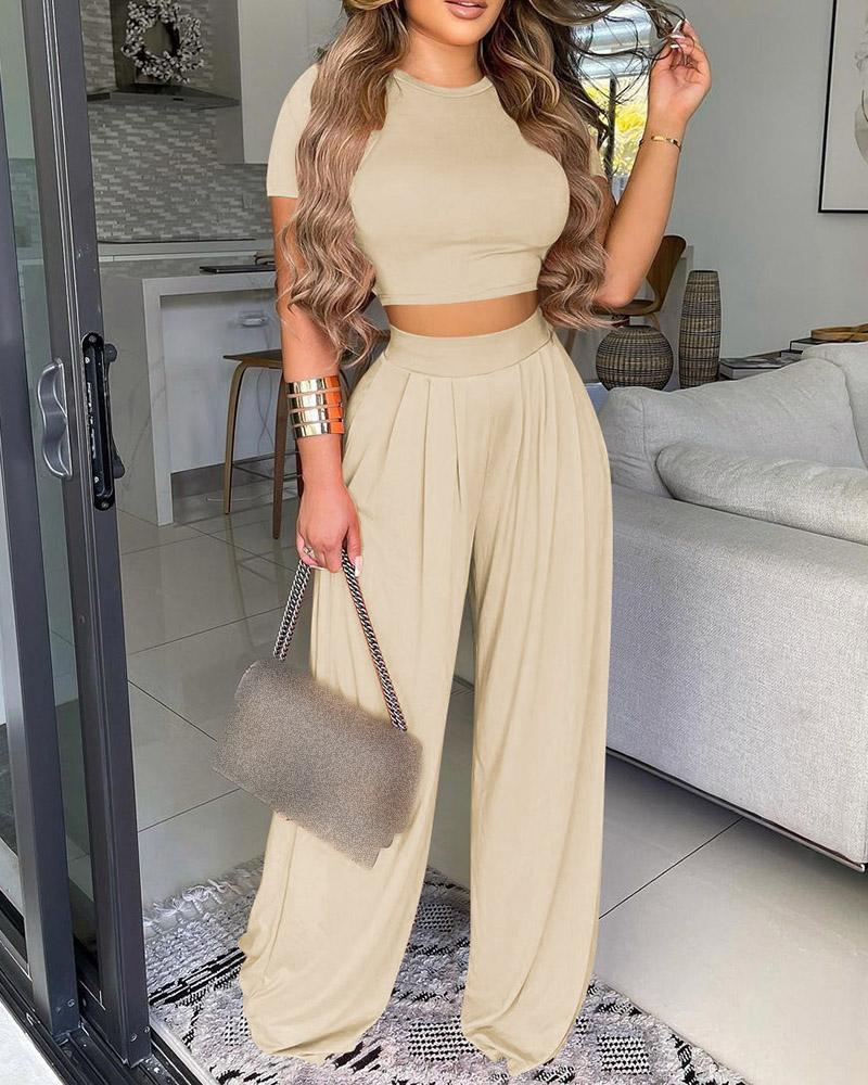 Plain Short Sleeve Crop Top & Wide Leg Pants Set