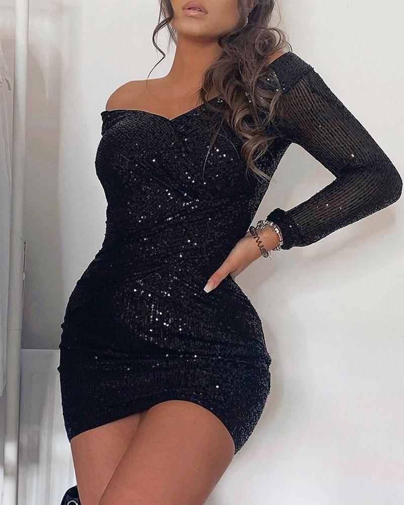 Off Shoulder Wrap Sequins Dress