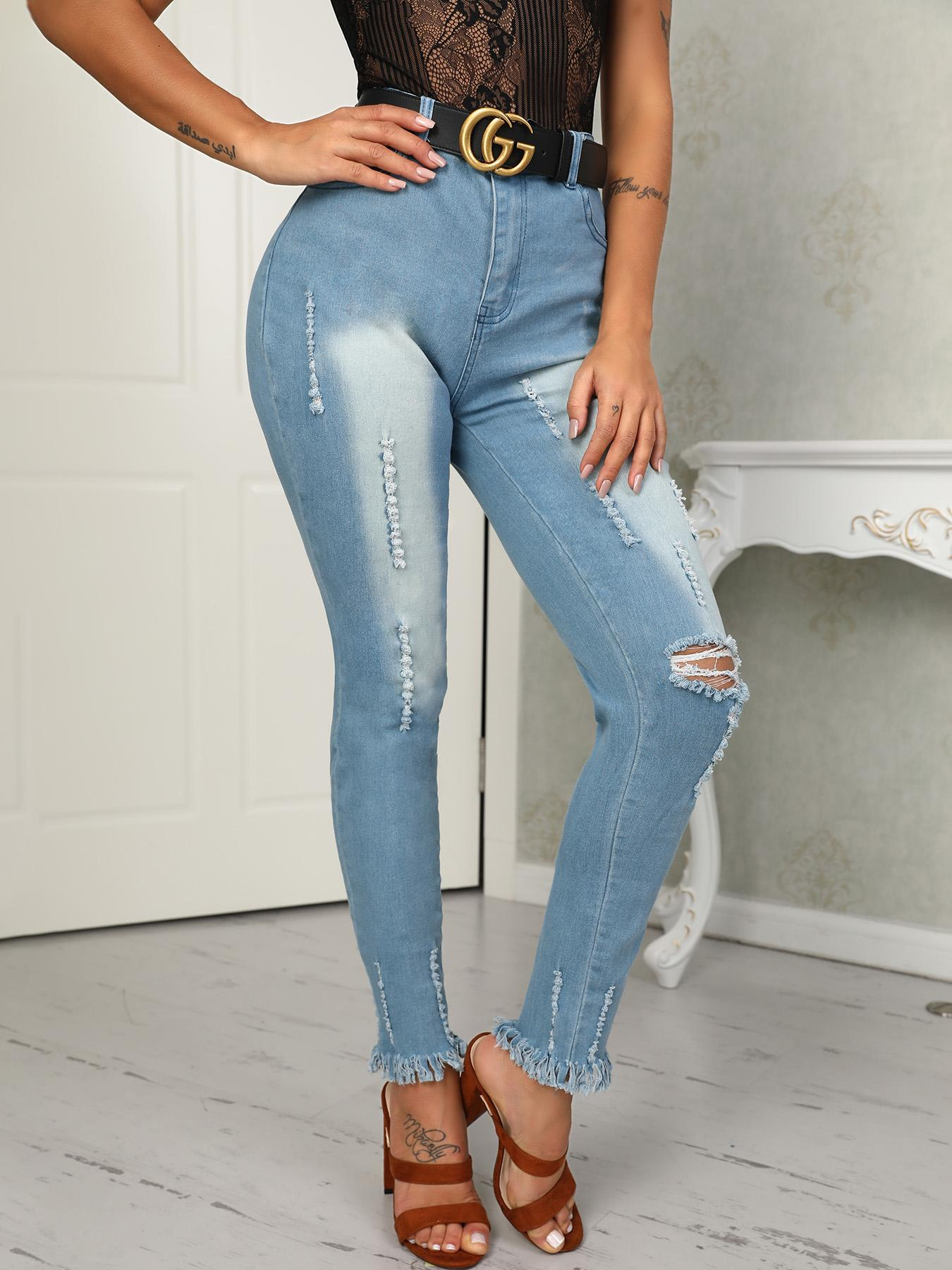 Boutiquefeel coupon: Skinny Holey Fringe Hem High Waist Jeans
