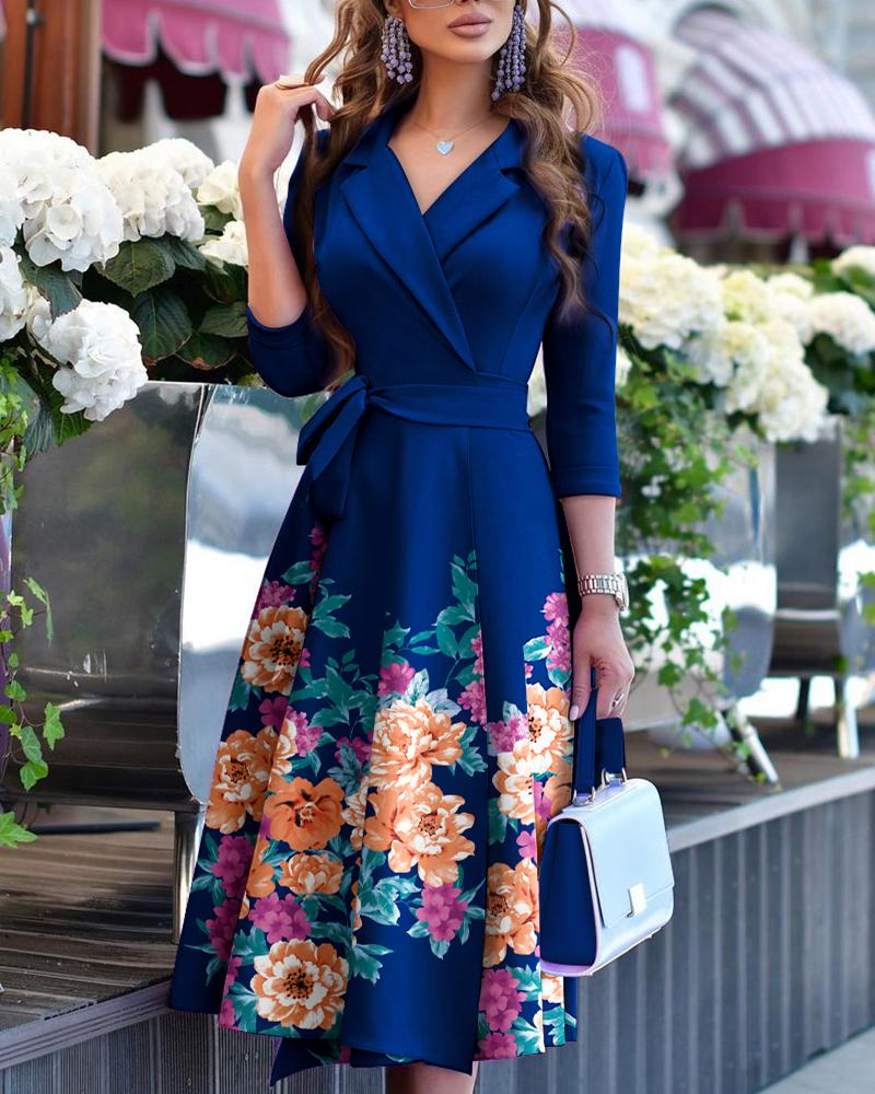 Floral Print Long Sleeve Tied Detail Flared Dress Notched Collar Elegant Work Dress, ivrose, purplish blue  - buy with discount