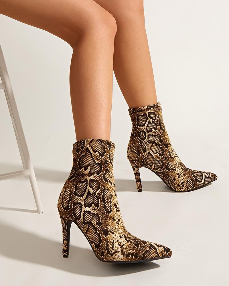 Womens Snakeskin Printed Point Toe High Heel Booties