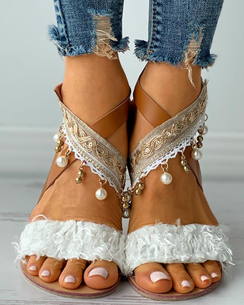 Beaded Decor Fluffy Open Toe Flat Sandals