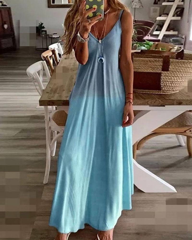 Ombre Colorblock V-Neck Casual Maxi Dress thumbnail