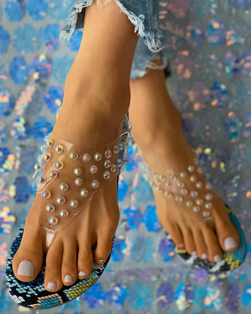 Studded Clear Perspex Flip Flops
