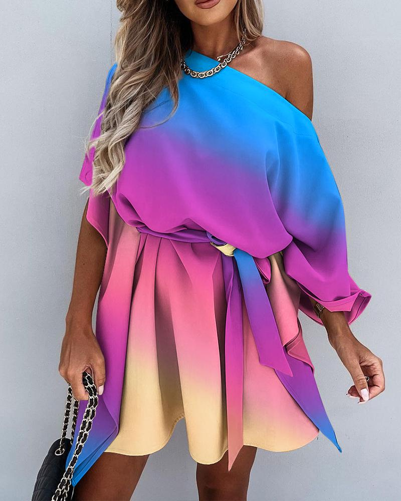 Ombre Colorblock One Shoulder Pleated Lace Up Mini Dress