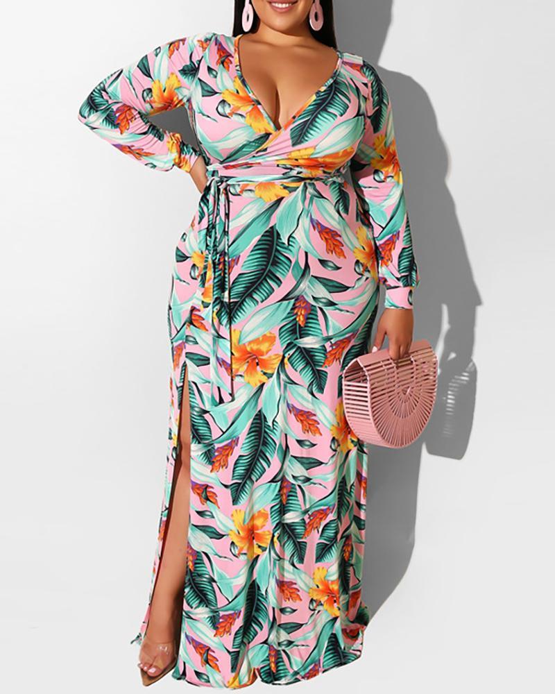 Plus Size Surplice Neck Tropical Print High Slit Maxi Dress