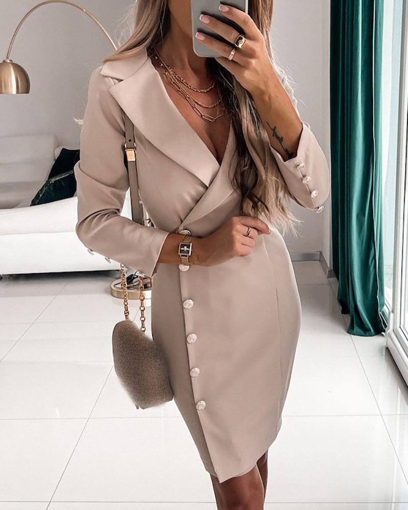 Button Design Long Sleeve Skinny Work Dress