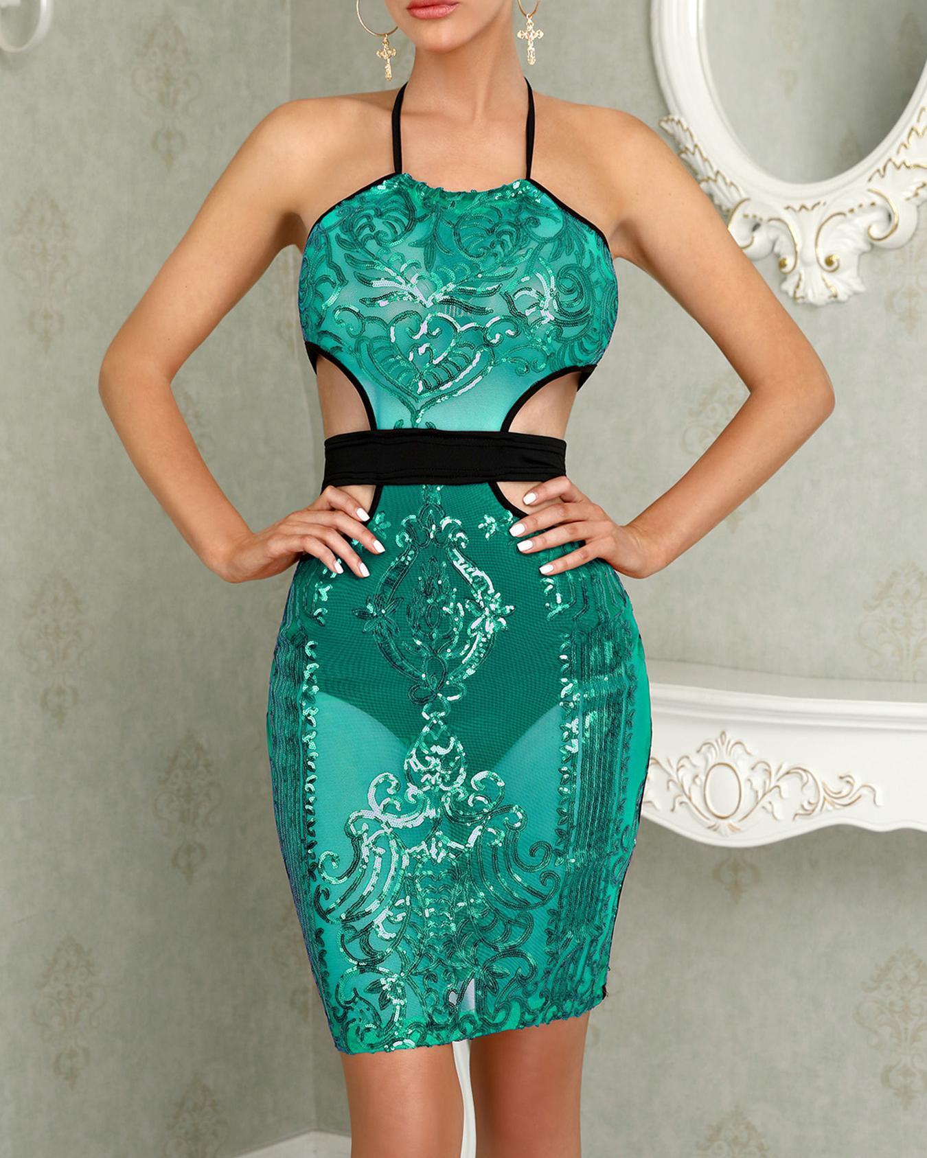 Cut Out Halter Bodycon Sequin Dress