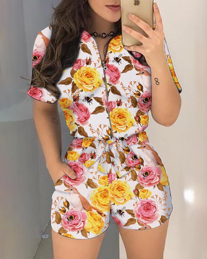 Floral Print Short Sleeve Zipper Design Romper