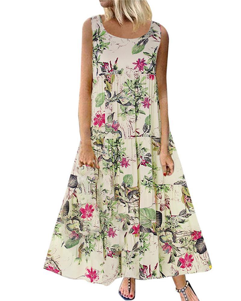 Floral Leaf Print Sleeveless Maxi Dress thumbnail