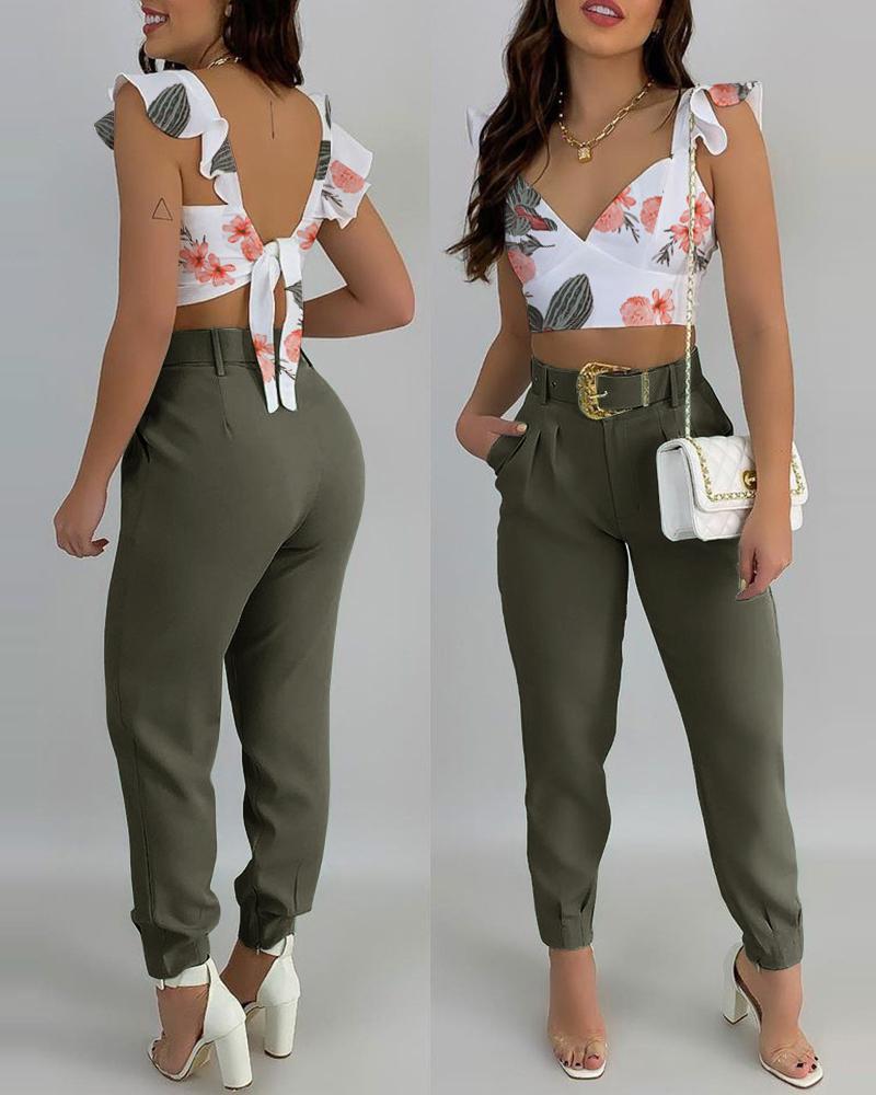 Floral Print Ruffles Tie Back Top & Pants Set