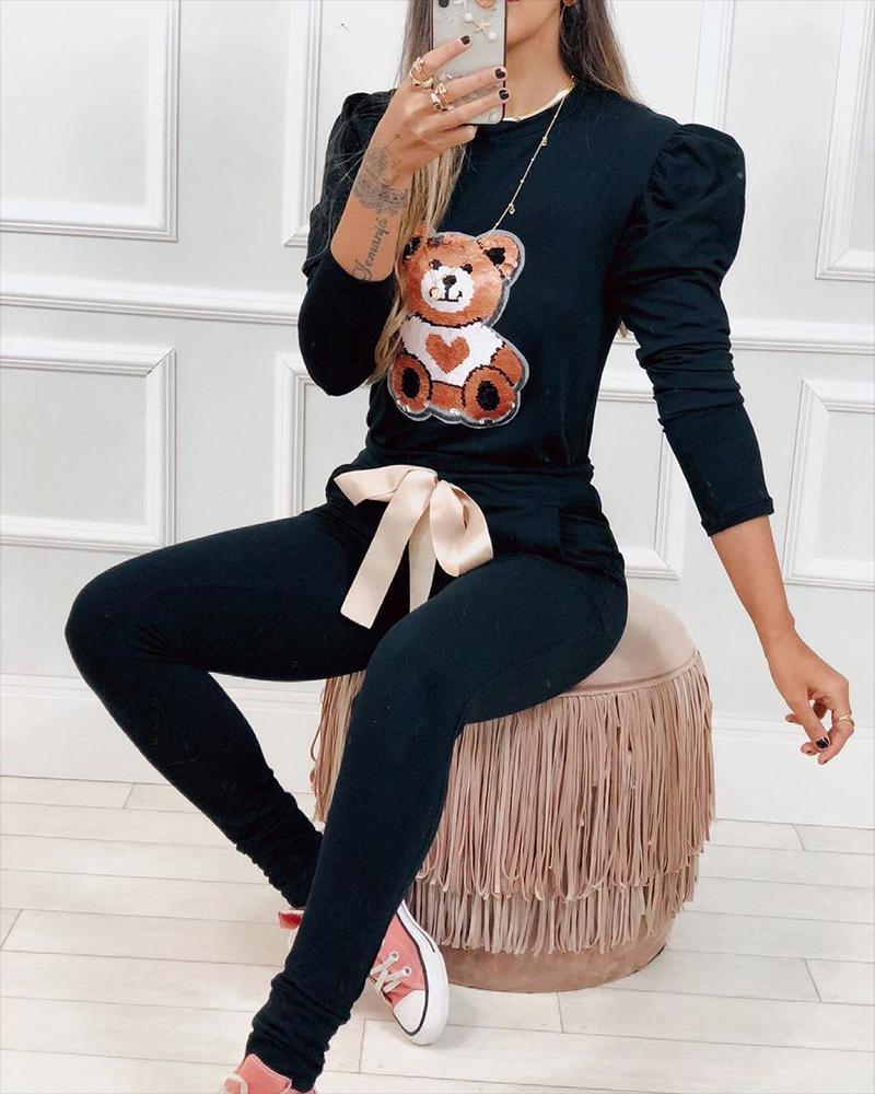 Contrast Sequin Cartoon Puff Sleeve Top & Bow Decor Pocket Pants Set