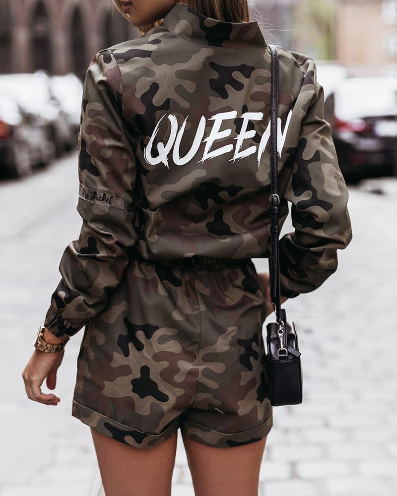 Letter Camouflage Print Jacket & Shorts Set