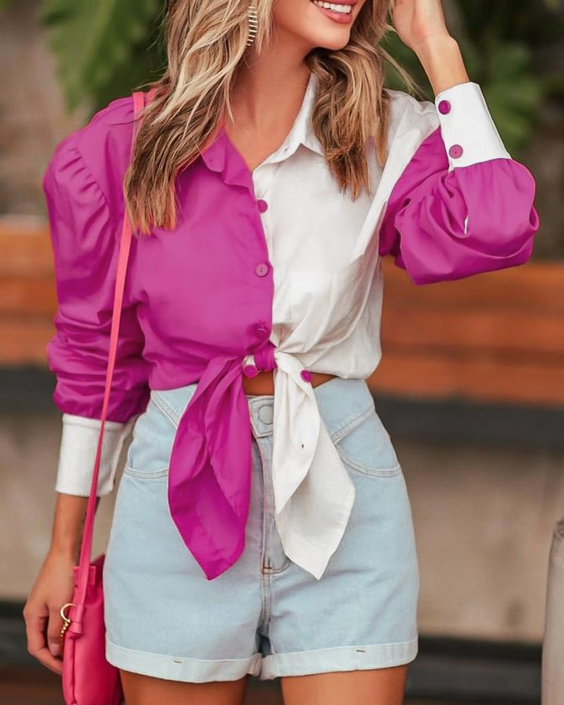 Colorblock Button Design Puff Sleeve Ruched Shirt