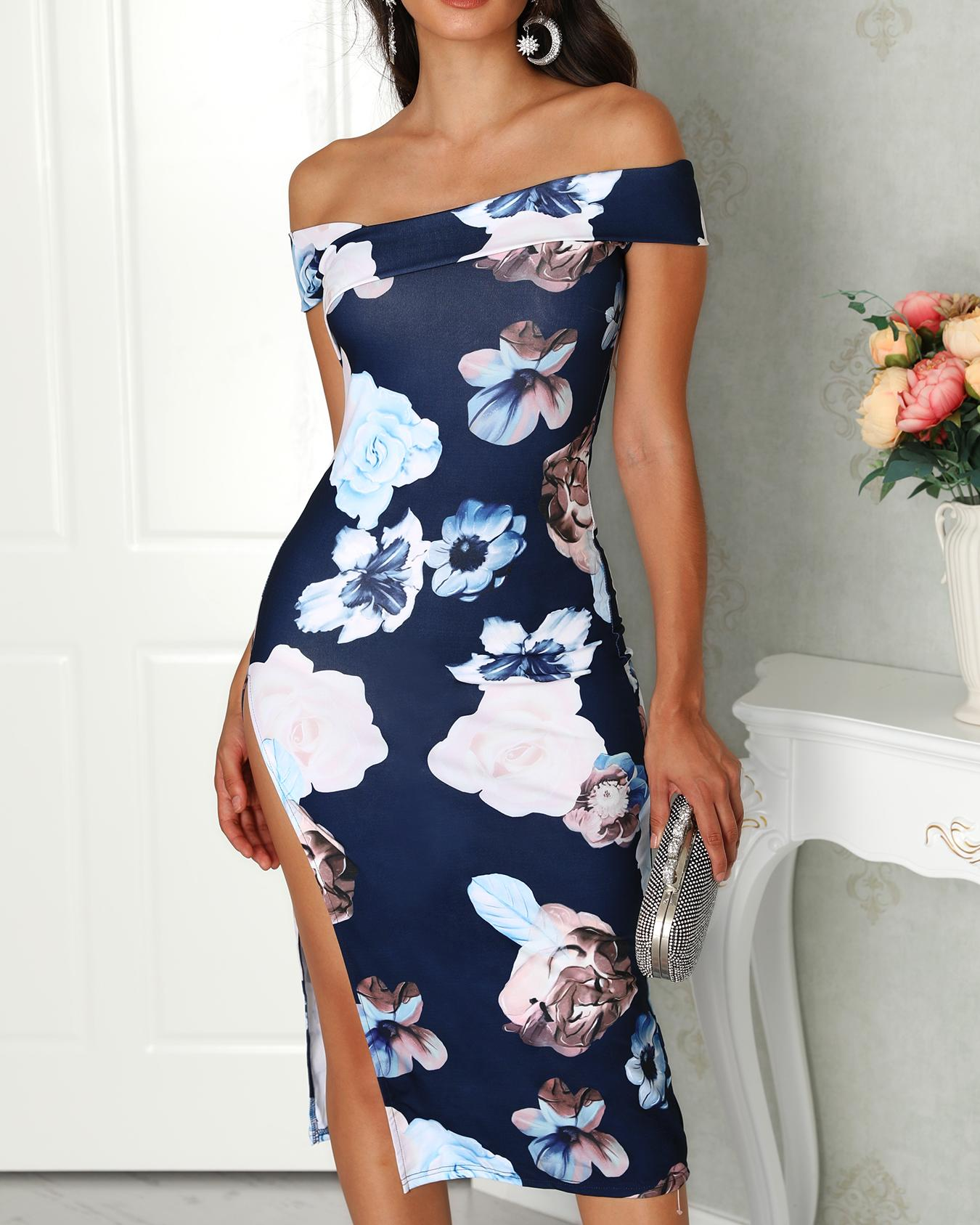 ChicMe coupon: Off Shoulder Floral Side Split Midi Dress
