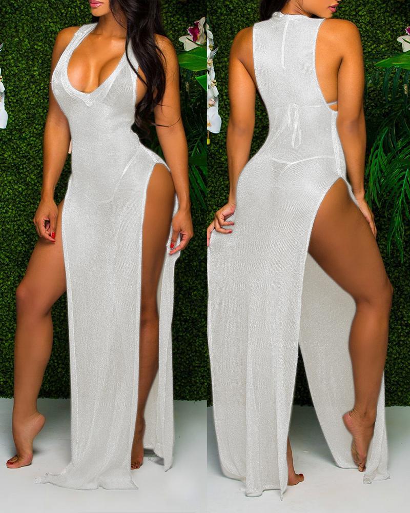 Sheer Mesh Sleeveless High Slit Maxi Dress