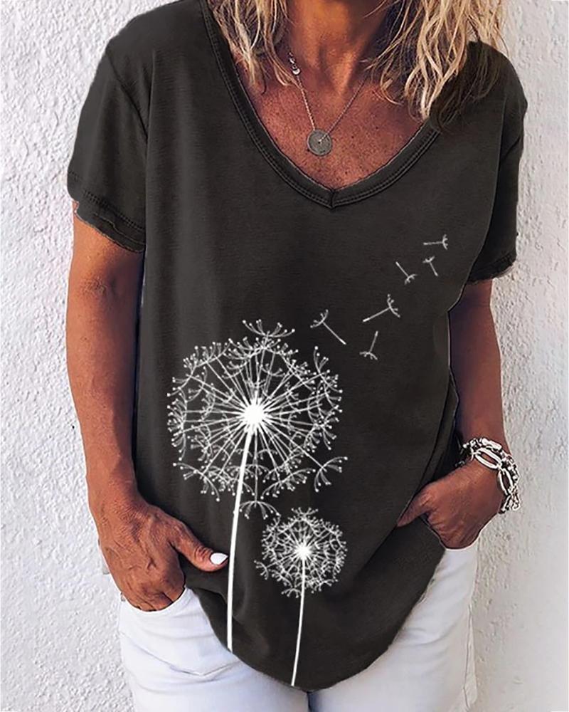 Flower Print V-neck Short Sleeve Casual T-shirt
