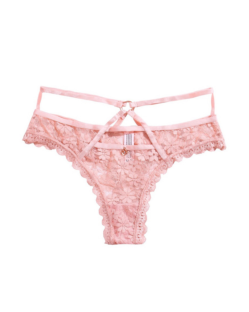 Cutout O-ring Floral Lace Panty
