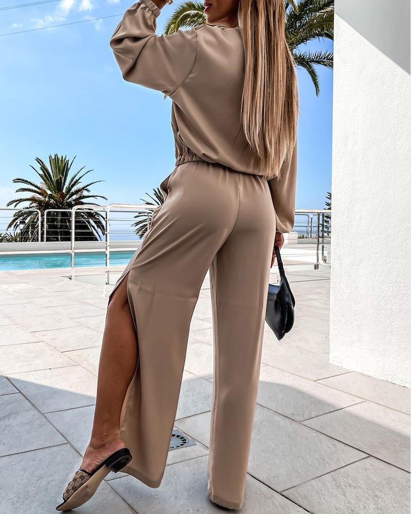 Satin Lantern Sleeve Top & Pocket Design Slit Pants Set